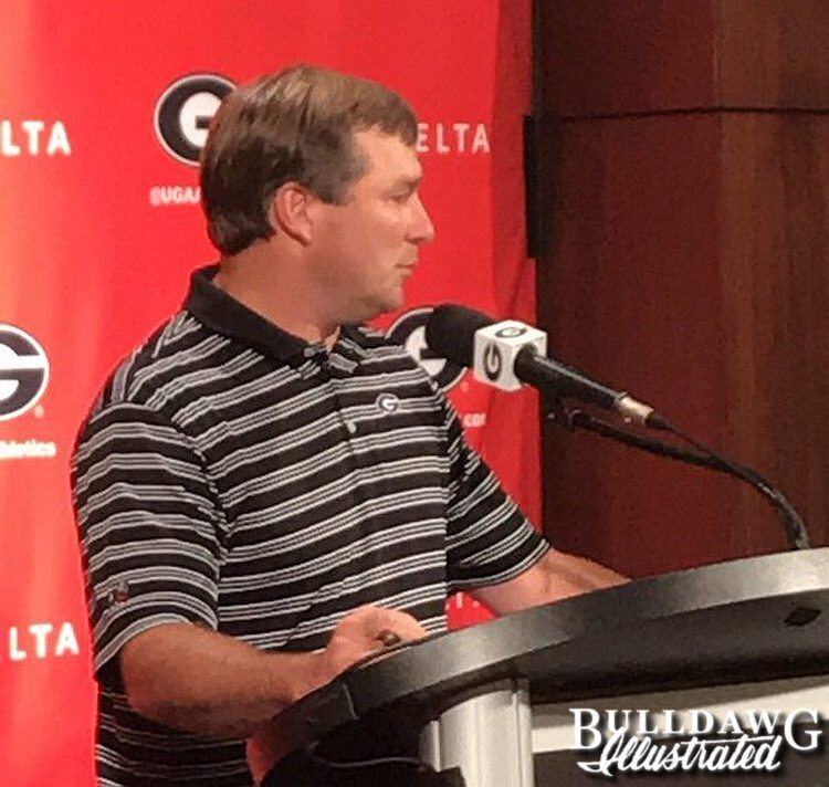 Georgia head coach Kirby Smart during press conference on Monday, Aug. 28, 2017