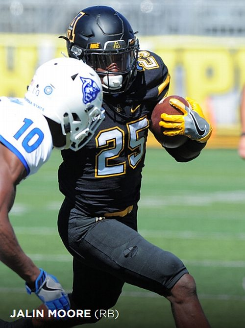 Mountaineers to watch - Jalin Moore (RB) (Photos by APP STATE ATHLETICS)