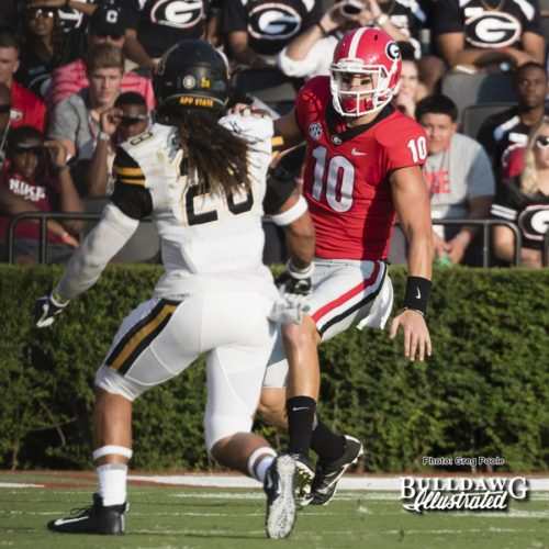 Jacob Eason (10) scrambles to his right and is injured just a few seconds later - 1st quarter - Appalachian State vs. Georgia - Saturday, Sept. 2, 2017