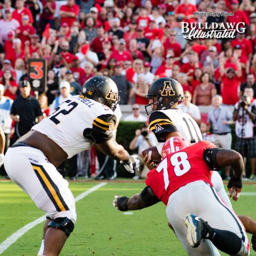 Mountaineer QB, Taylor Lamb (11), runs for his life from Bulldog DT Trenton Thompson (78) - Appalachian State vs. UGA - Saturday, Sept. 2, 2017