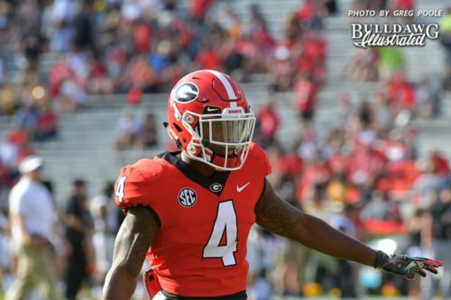 Mecole Hardman, Jr. (4) warms up with the Bulldogs as they get ready to face Appalachian State - Saturday, Sept. 2, 2017 -