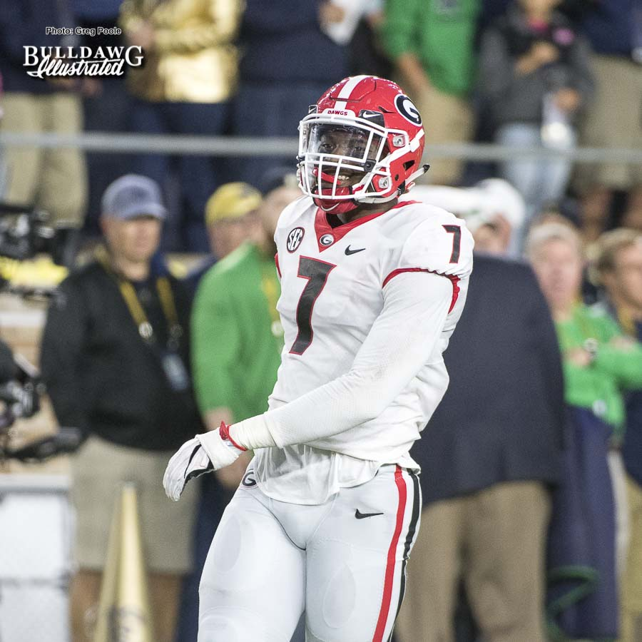 Lorenzo Carter (7)  - UGA 20 - Notre Dame 19 -  Saturday, September 9, 2017