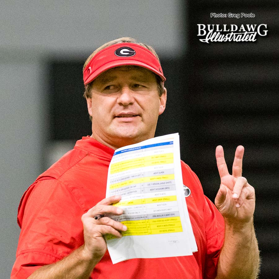 Kirby Smart – practice in the indoor athletic facility – Tuesday, September 12, 2017