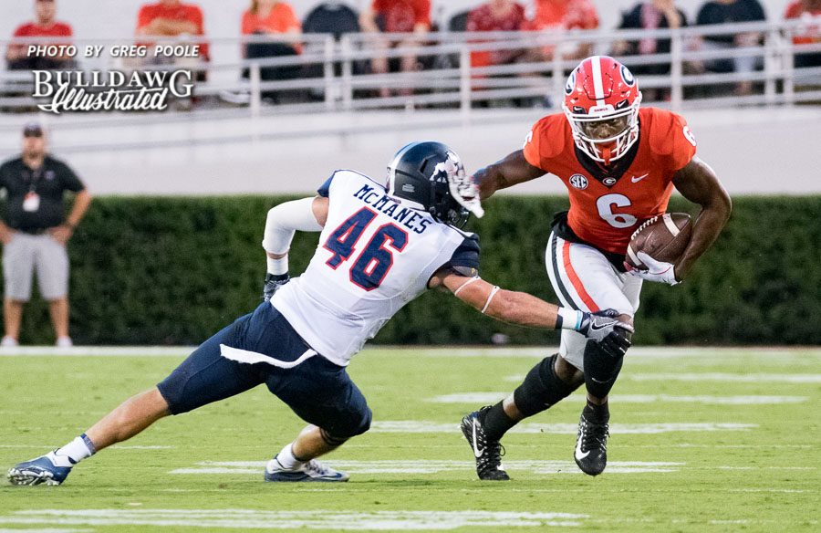Javon Wims (6) with the stiff arm after the catch - UGA vs. Samford - Athens, GA, Saturday, Sept. 16, 2017