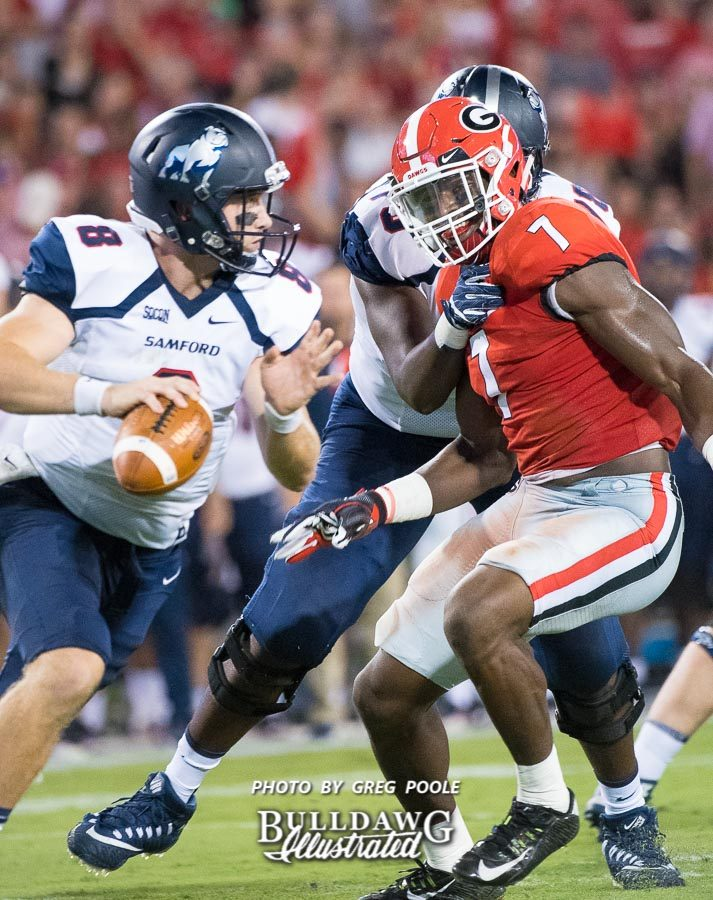 The only way to slow down UGA's Lorenzo Carter (7) is for a lineman to get creative (hold) - UGA vs. Samford - Athens, GA, Saturday, Sept. 16, 2017