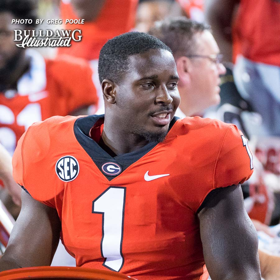 Senior tailback Sony Michel dressed out for UGA-Samford but did not play as he gets some rest to heal an ankle injury with SEC play looming ahead - Athens, GA, Saturday, Sept. 16, 2017 -