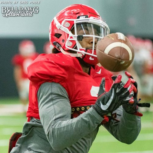 Tyler Smith looks the ball in during Tuesday afternoon's practice