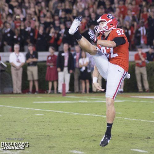 Cameron Nizialek puts his leg into a punt and sends into orbit over Sanford Stadium - UGA vs. Mississippi State - Saturday, Sept. 23, 2017
