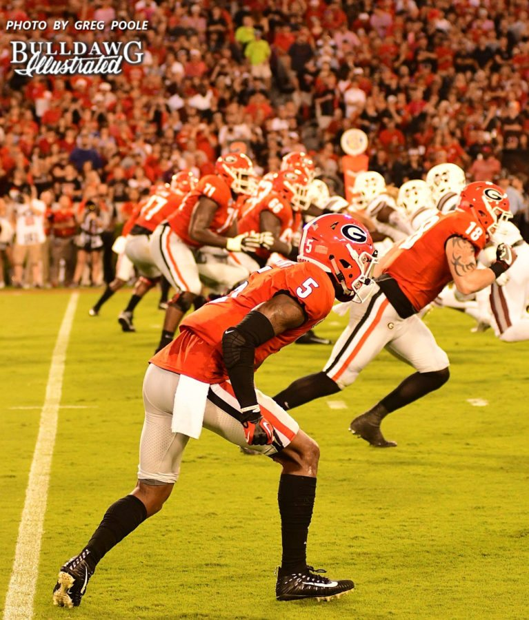 Georgia's Terry Godwin (5) and Isaac Nauta (18) lined up on the right side of the formation for the Bulldogs  - UGA vs. Mississippi State -  Saturday, September 23, 2017