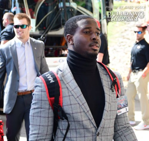 Sony Michel arrives at Neyland Stadium with the rest of the Bulldogs ready to go to work. - UGA vs. Tennessee -  Saturday, Sept. 30, 2017