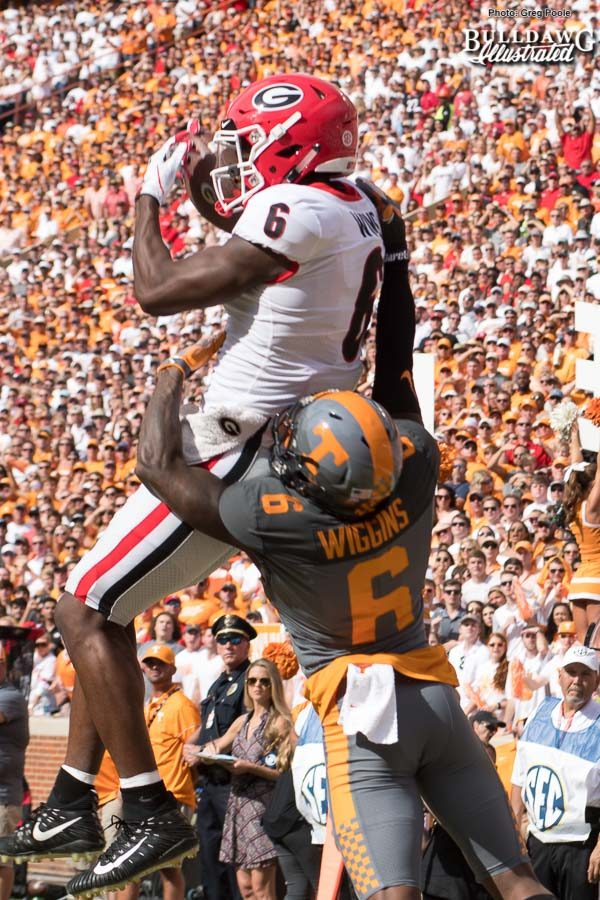 Javon Wims (6) hauls in the catch against former Bulldog Shaq Wiggins (6) - UGA vs. Tennessee - Saturday, Sept. 30, 2017