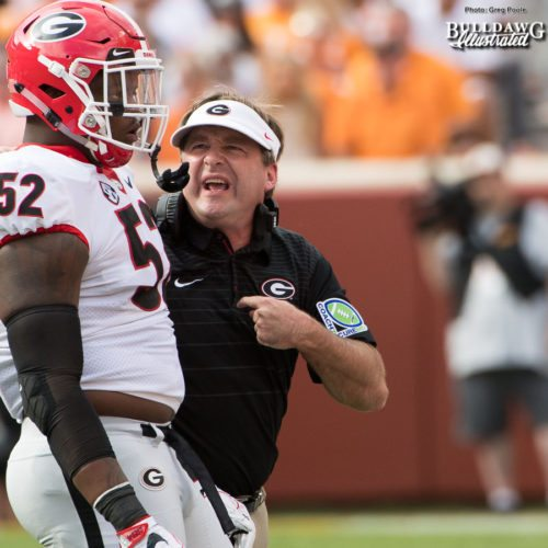Tyler Clark (52) gets some tough love from Head Coach Kirby smart after he commits an unsportsman conduct penalty - 2nd quarter, UGA vs. Tennessee - Saturday, Sept. 30, 2017