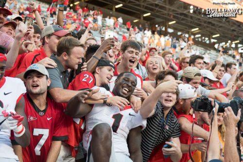 Senior Georgia tailback Sony Michel (1) celebrates with Bulldog fans after UGA's 41-0 winover Tennessee.  - Neyland Stadium, Knoxville, TN -  Saturday, Sept. 30, 2017