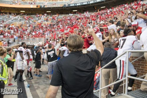 "Georgia Head Coach Kirby Smart with the fist pump and a ""Go Dawgs!"" after the Bulldogs defeat the Volunteers with prejudice 41-0 - UGA vs. Tennessee - Saturday, Sept. 30, 2017"