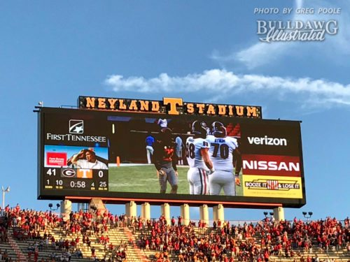 Neyland Stadium scoreboard UGA 41 Tennessee 0 with less than a minute to go in the game