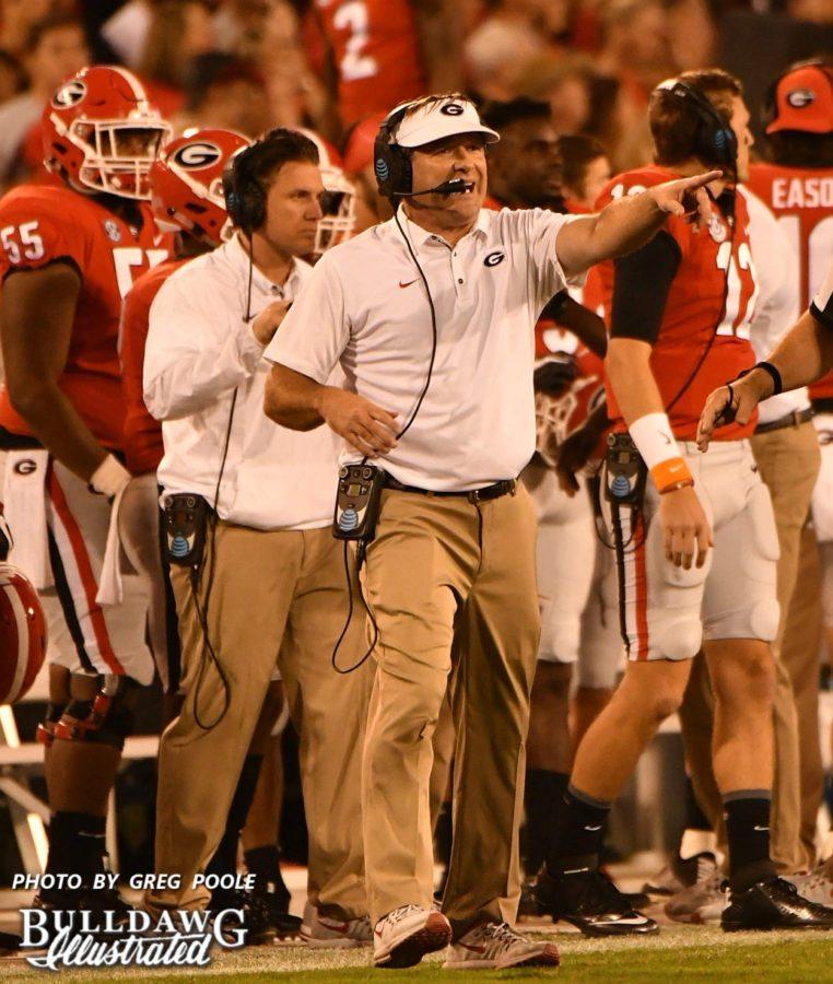 Kirby Smart coaching his Bulldogs during Georgia's homecoming gave versus Missouri on Saturday, Oct. 14, 2017.