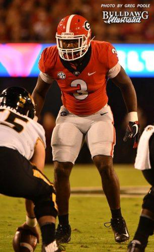 Junior inside linebacker Roquan Smith (3) was Georgia's leading tackler in the Bulldogs' 53-28 win over Missouri on Saturday night, Oct. 14, 2017.