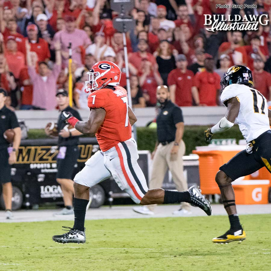 D'Andre Swif (7), catch him if you can... - UGA vs. Missouri - Saturday, Oct. 14, 2017
