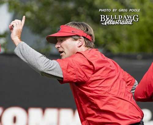 Kirby Smart instructs players during practice