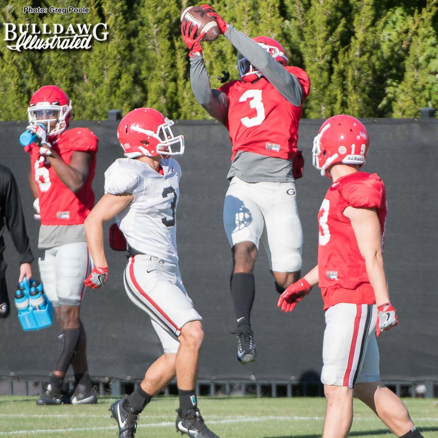 Tyler Simmons makes the grab during a drill.