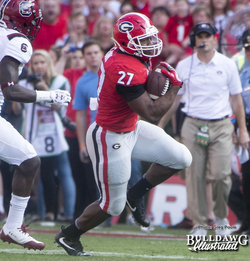 Nick Chubb (27) ran for 105 yards on 22 carries versus South Carolina in Georgia's 24-10 win on Saturday.