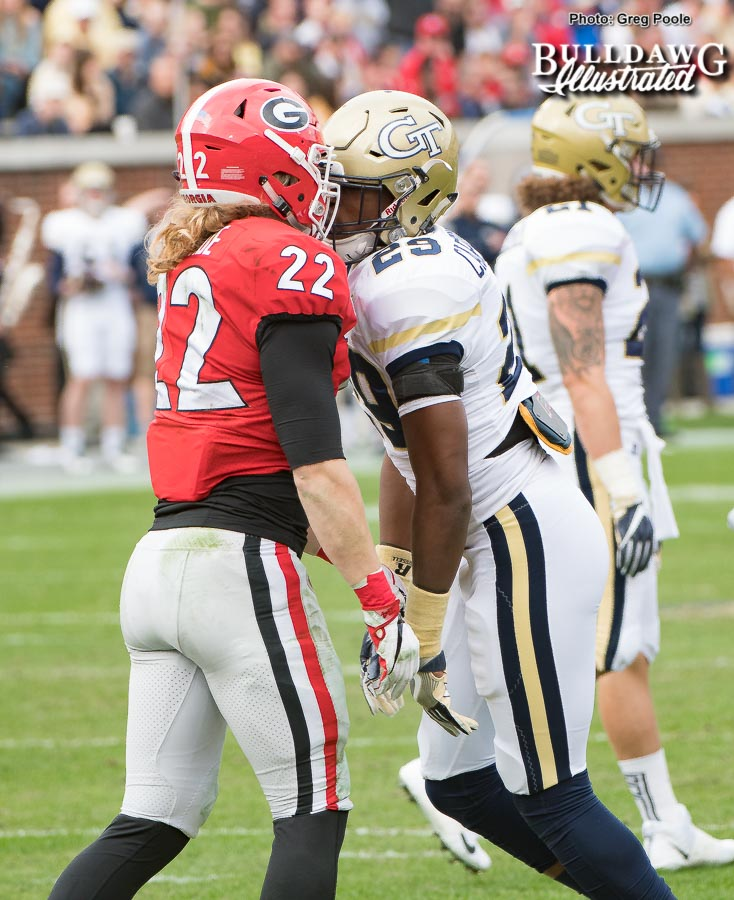Georgia freshman linebacker Nate McBride (22) and his first experience with Clean Old-Fashioned Hate. - UGA vs. GT - Saturday, Nov. 25, 2017 -