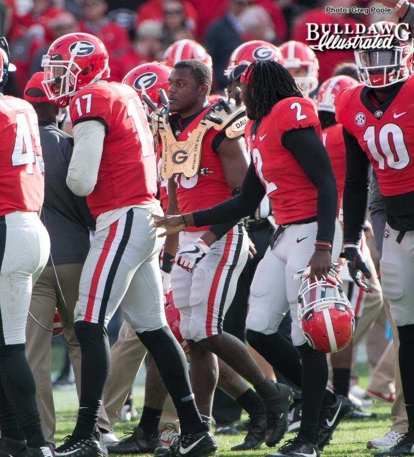 "Deandre Baker (18) gets the ""Golden Spikes"" after intercepting a TaQuon Marshall pass. - UGA vs. GT - Saturday, Nov. 25, 2017 -"