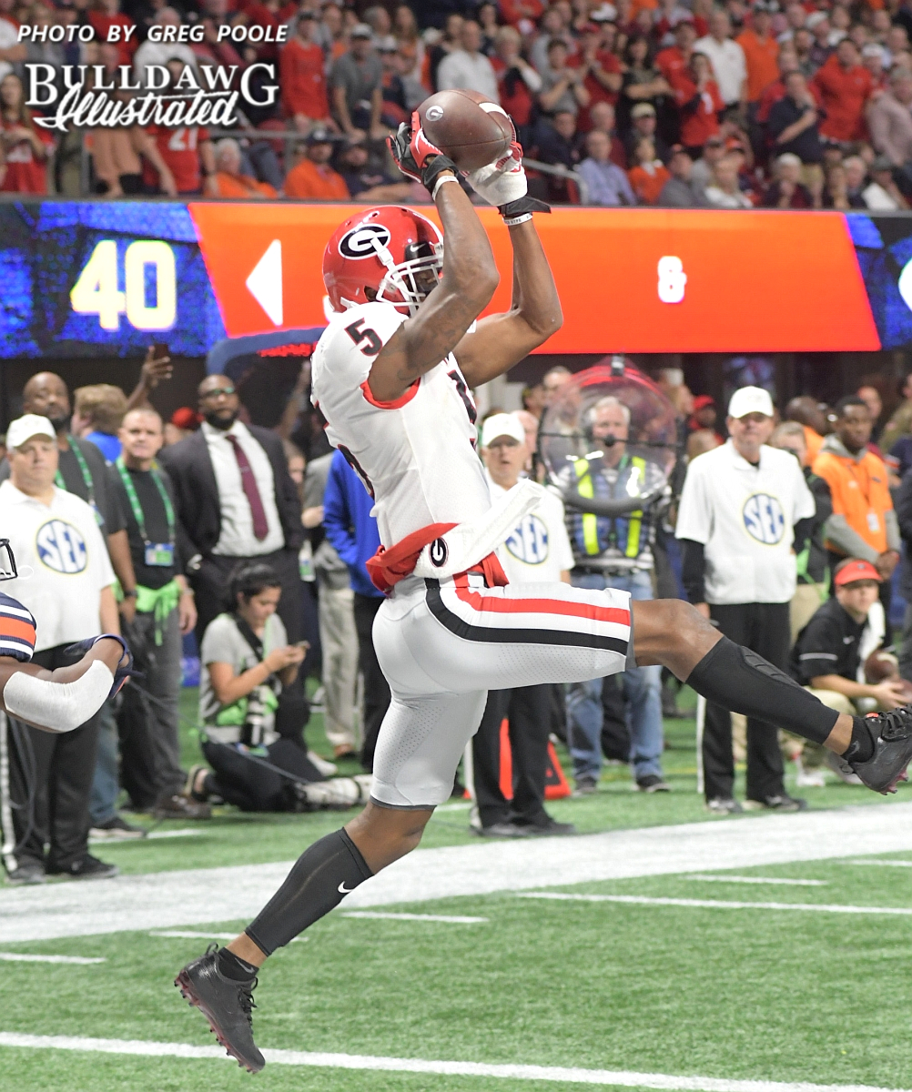 Terry Godwin nabs a Jake Fromm's pass out of the air for a two point conversion after scoring a touchdown on the previous play. - 2017 SEC Championship, Saturday, Dec. 2, 2017 -