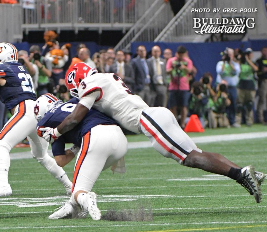 Georgia ILB Roquan Smith (3) tackles Auburn QB Jarrett Stidham (8) - 2017 SEC Championship, Saturday, Dec. 2, 2017 -