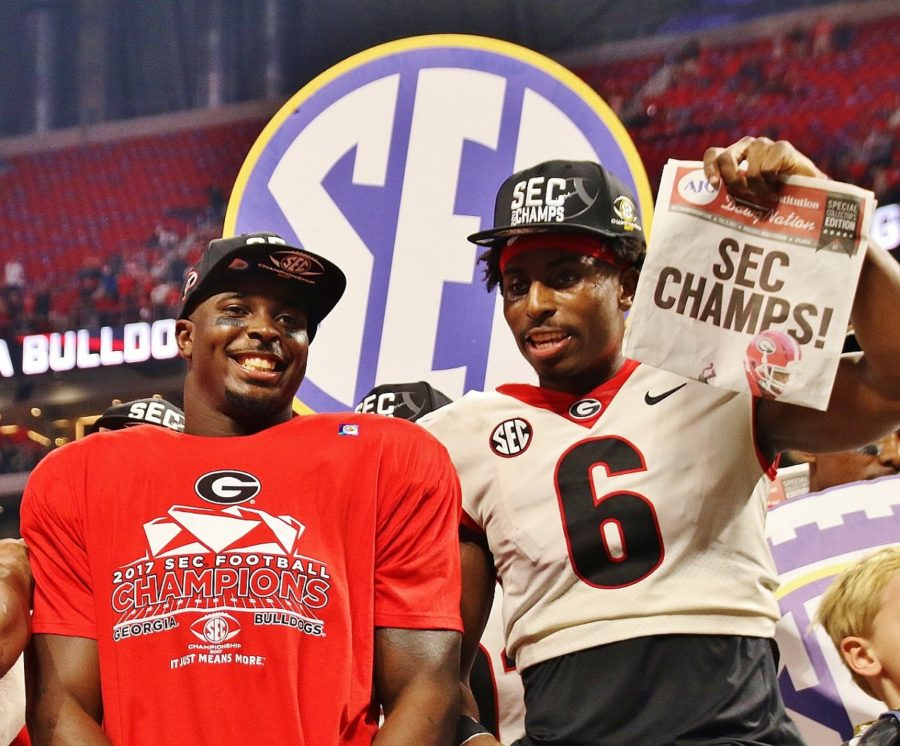 Sony Michel (left) and Javon Wims (right) - 2017 SEC Championship - Dawgs 28 Auburn 7 - 12-2-17 - (Photo by Rob Saye)