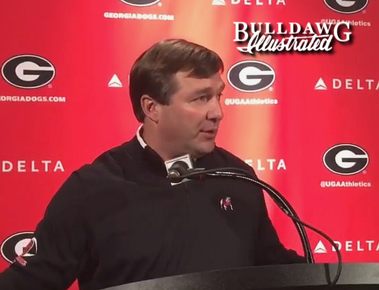 Kirby Smart during his Monday press conference on Dec. 18, 2017