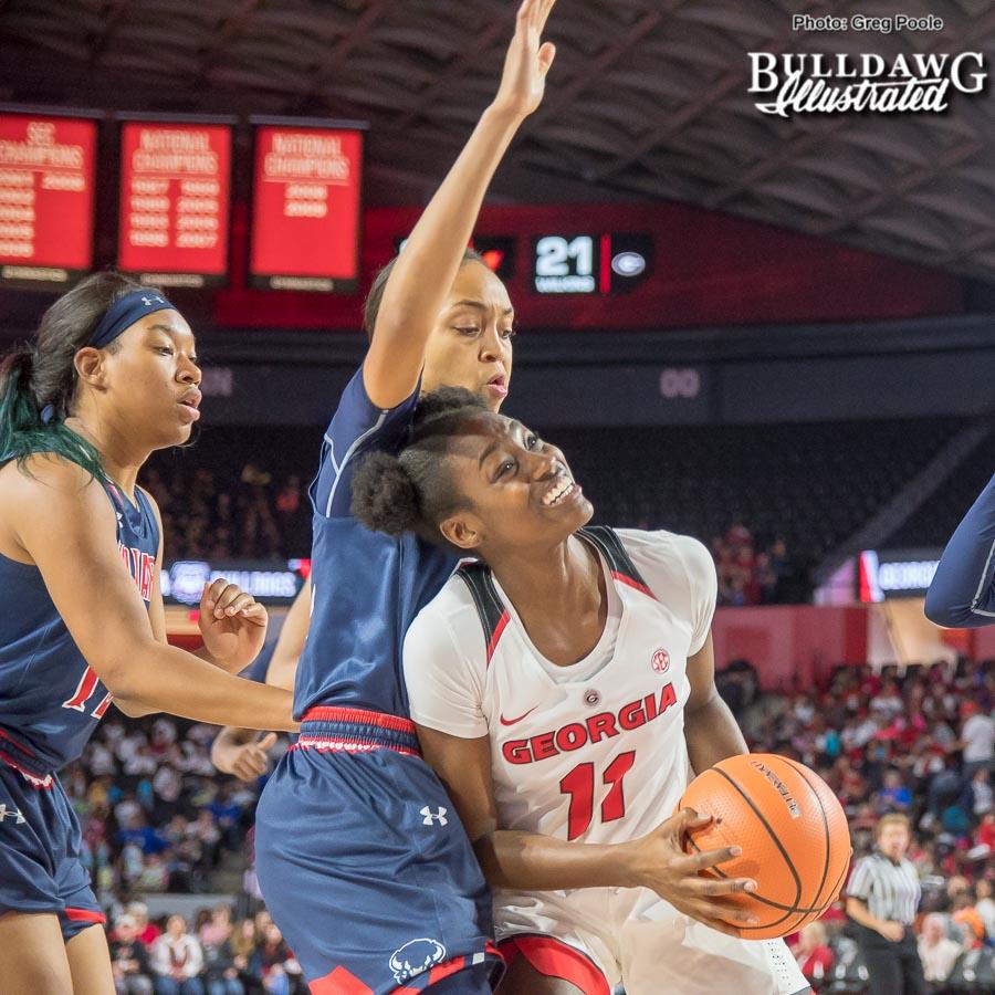 Maya Caldwell is fouled while shooting vs. Howard – December 19, 2017