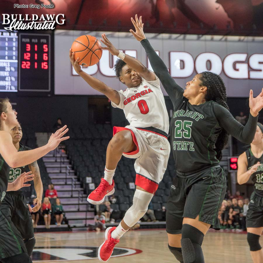 Georgia's Taja Cole (0) - UGA women's basketball game vs. Wright State -