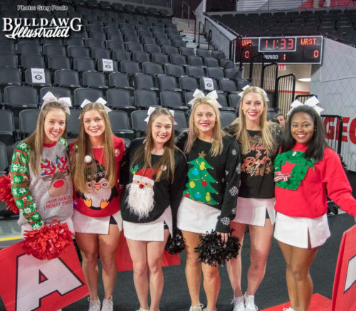 It's Christmas Sweater day at the Stegeman Coliseum for the UGA women's basketball game vs. Wright State on Thursday afternoon - 2017-DEC-21 -