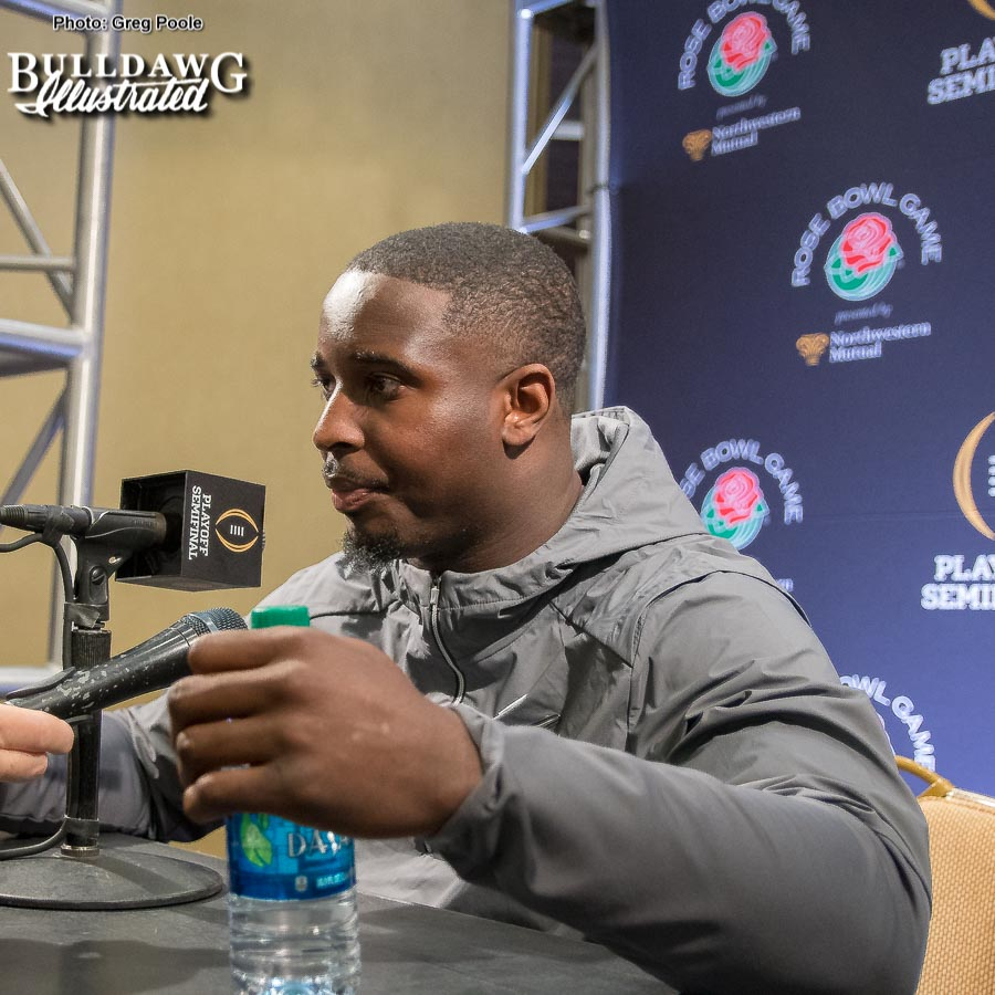 Bulldog senior tailback Sony Michel looks as comfortable behind a microphone fielding questions from the media as he does toting the rock on Saturday's. He'll be a big hit in the NFL.