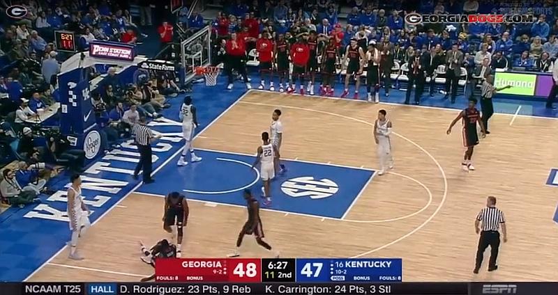Georgia vs. Kentucky men's college basketball game 2017-Dec-31 (Photo from Georgiadogs.com video)
