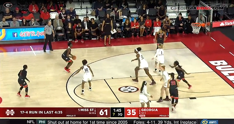 Georgia vs. Mississippi State women's college basketball game 2017-Dec-31 (Photo from Georgiadogs.com video)