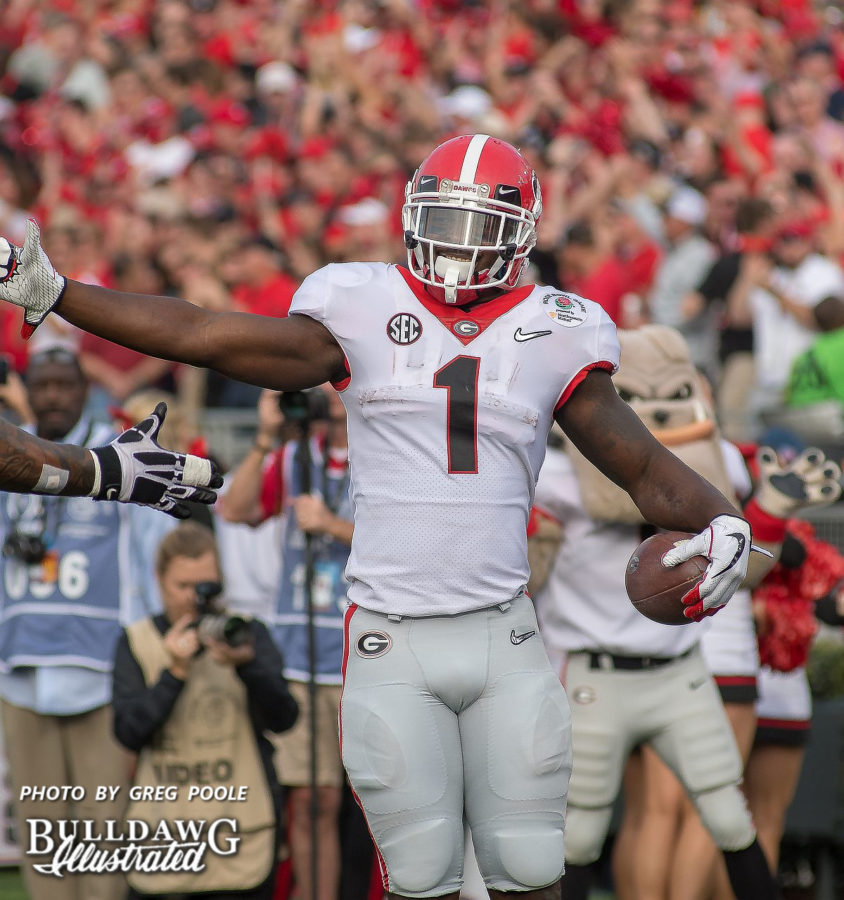 Georgia tailback Sony Michel (1) celebrates a touchdown run during the Bulldogs 54-48 double-overtime Rose Bowl win versus Oklahoma on Monday, Jan. 1, 2018. (Photo: Greg Poole/Bulldawg Illustrated)