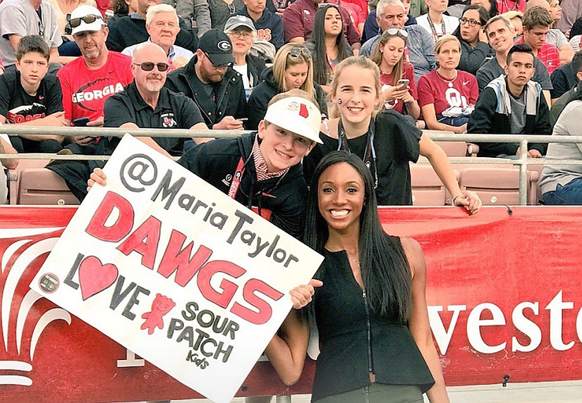 Hamilton Culpepper (left) and Mimi Culpepper pose with Maria Taylor at the 2018 Rose Bowl game in Pasadena, CA