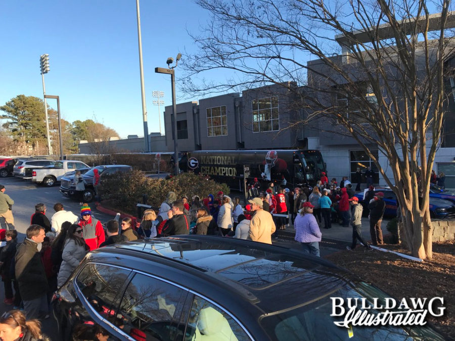 Georgia fans at Butts-Mehre Heritage hall on Friday afternoon to give the Bulldogs a proper send off to Atlanta for the College Football Playoff National Championship game. (Photo by Bulldawg Illustrated)