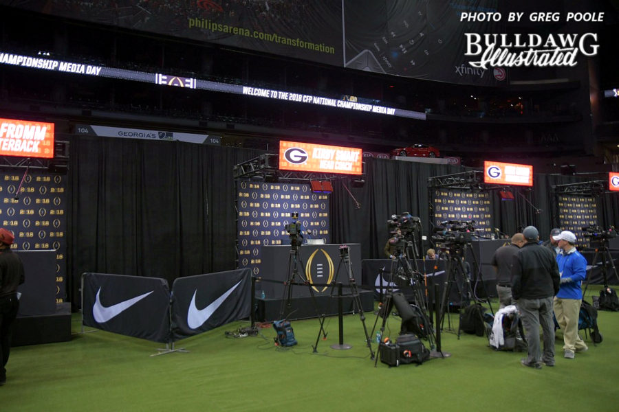 Philips Arena is all set up to receive the Georgia football team for National Championship media day - Saturday, Jan. 6, 2018 -