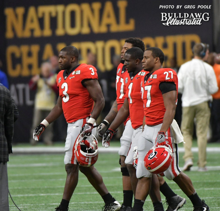 - Georgia's captains for the National Championship game - Roquan Smith (3), Isaiah Wynn (77), Sony Michele (1), Nick Chubb (27)