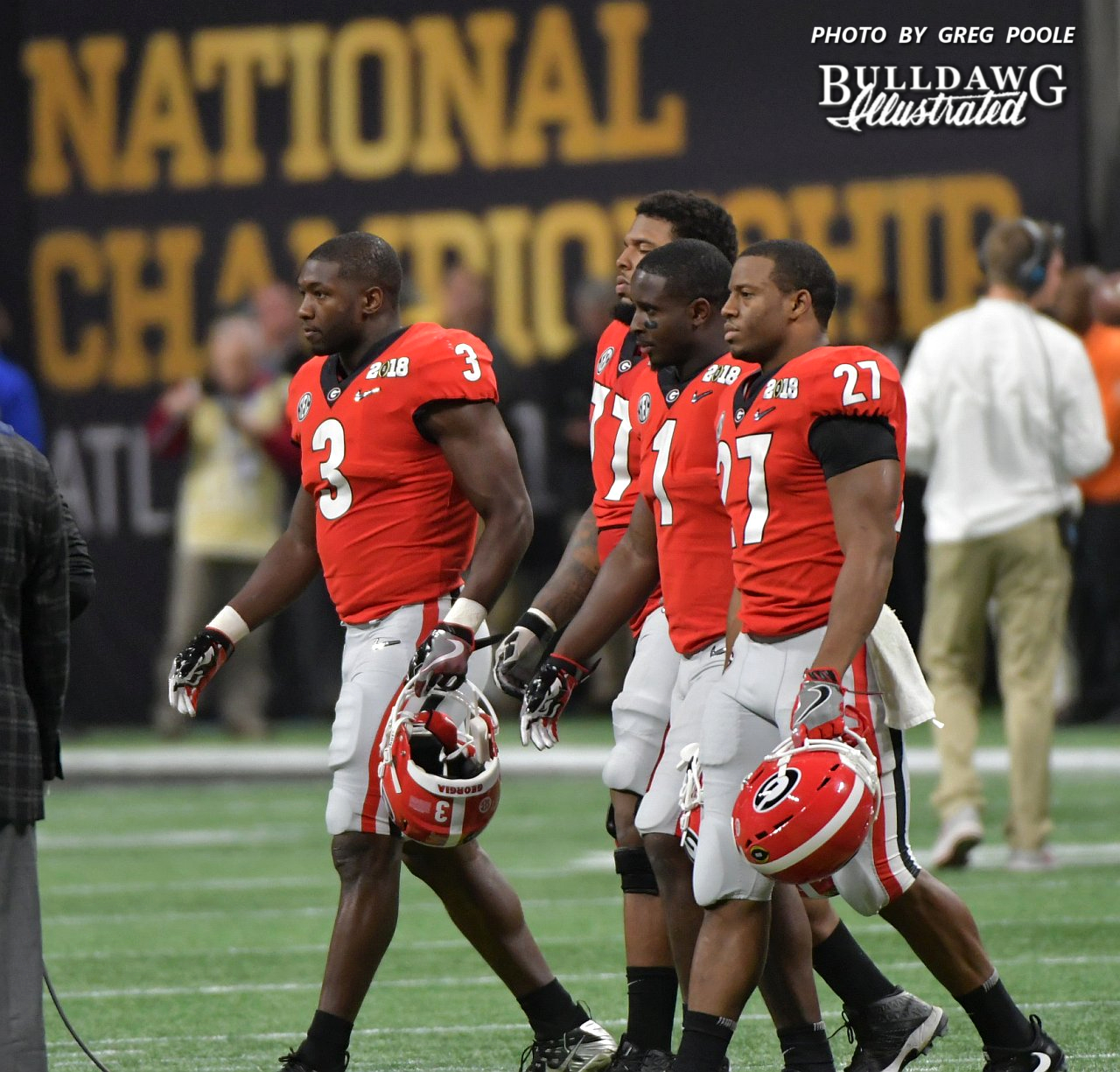 Georgia's captains for the National Championship game - Roquan Smith (3), Isaiah Wynn (77), Sony Michele (1), Nick Chubb (27) - Mercedes-Benz Stadium, Atlanta, GA - Monday, Jan. 8, 2018