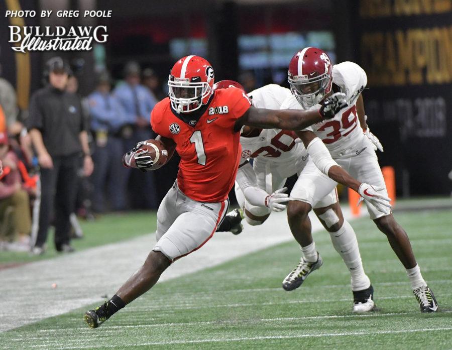 Sony Michel (1) running into and through the Alabama secondary. - Mercedes-Benz Stadium, Atlanta, GA - Monday, Jan. 8, 2018