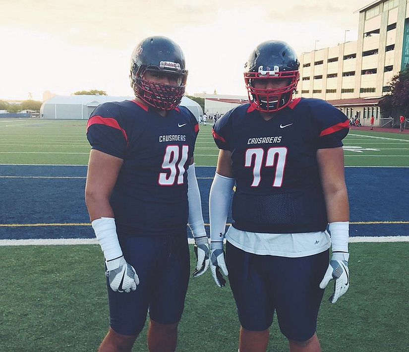 St. Louis High School's 2019 prospects Faatui Tuitele (91) and Arasi Mose (77) (photo from Faatui Tuitele/Twitter)