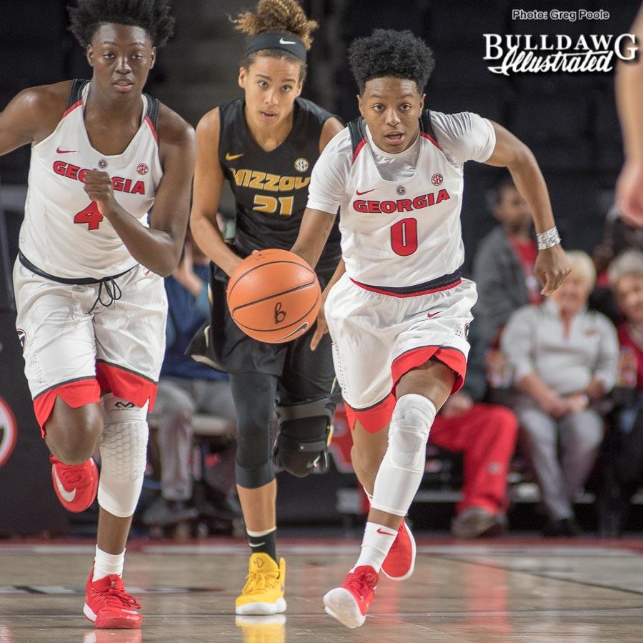 Taja Cole drives the basket – Georgia vs. Missouri – January 25, 2018