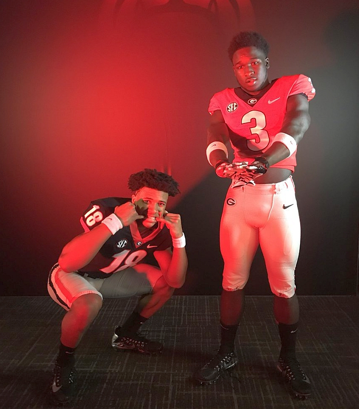 Pelham High School 2020 QB Kendrick Patterson (18)  and Colquitt County High School 2020 RB Daijun Edwards (3) on an unofficial visit to UGA on Saturday, Jan. 28, 2018. (Photo from Kendrick Patterson/Twitter)