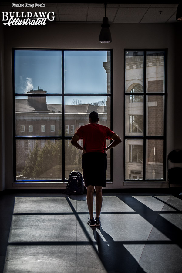 UGA women's basketball coach Joni Taylor finds a moment of reflection at the practice gym - January 30, 2018