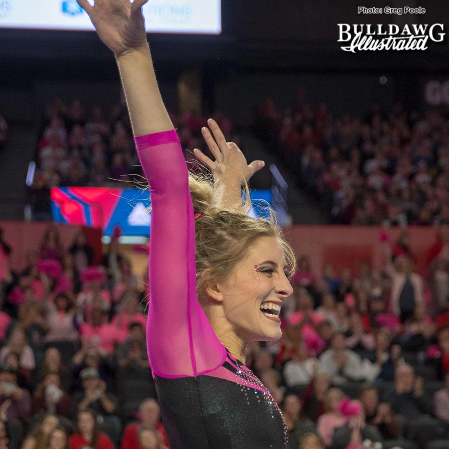 Sydney Snead celebrates her beam routine – Georgia vs. Missouri – February 3, 2018