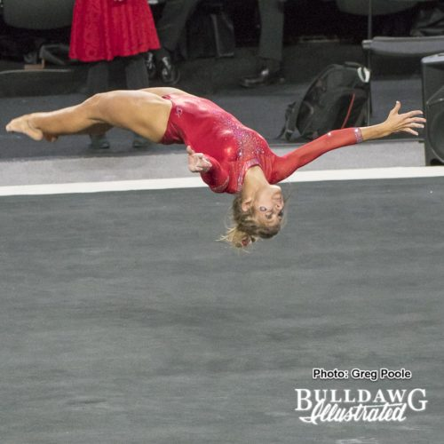 Sydney Snead mid tumbling pass during her perfect routine!